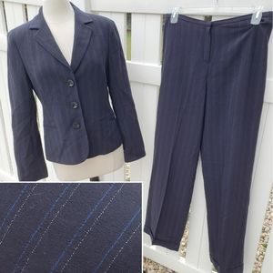 Virgin Wool Blue White Pinstripe Blazer Pants Suit